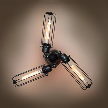 3-Armed Transformable Tubular Cage Wall Sconce