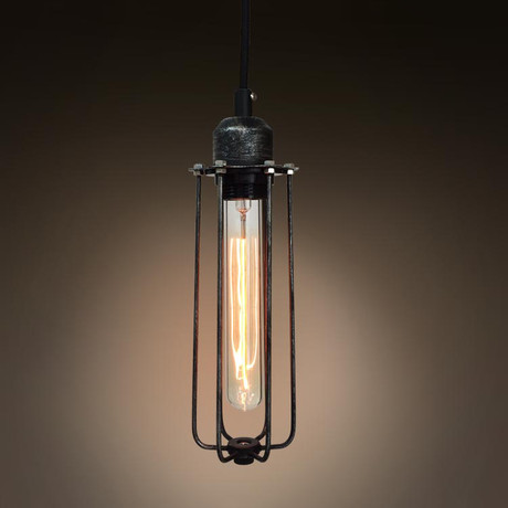 Single Tubular Cage Pendant Lighting