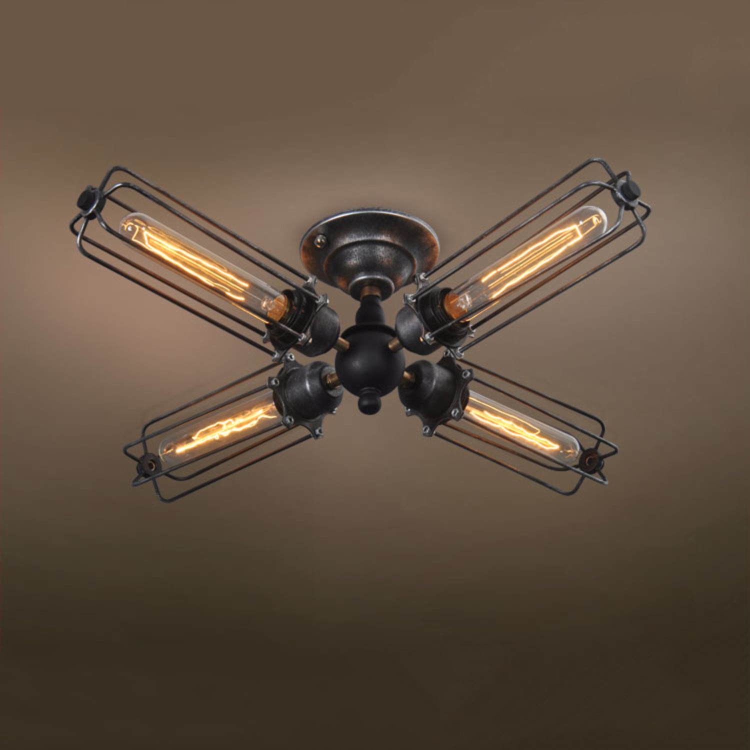 Caged Ceiling Fan With Light Fans Standard Size Rustic W: 4-Armed Industrial Ceiling Light