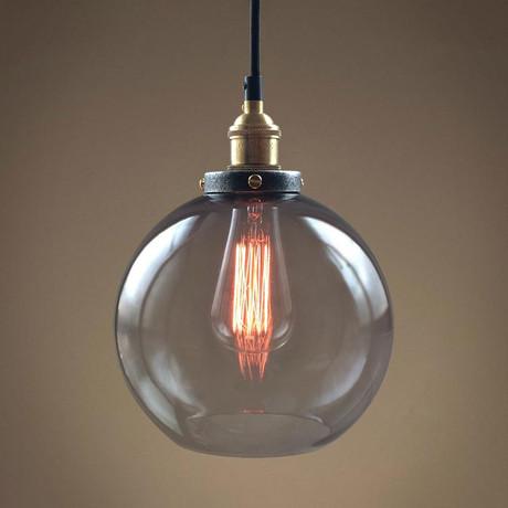Smoked Globe Glass Pendant Light