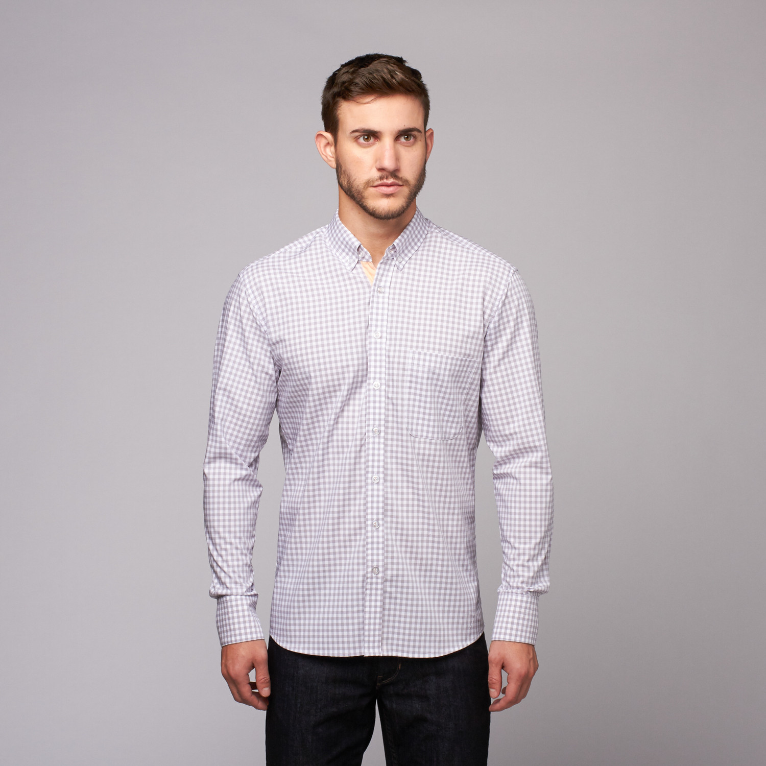 Reichardt threads sir charles button down shirt grey for Casual button down shirts untucked