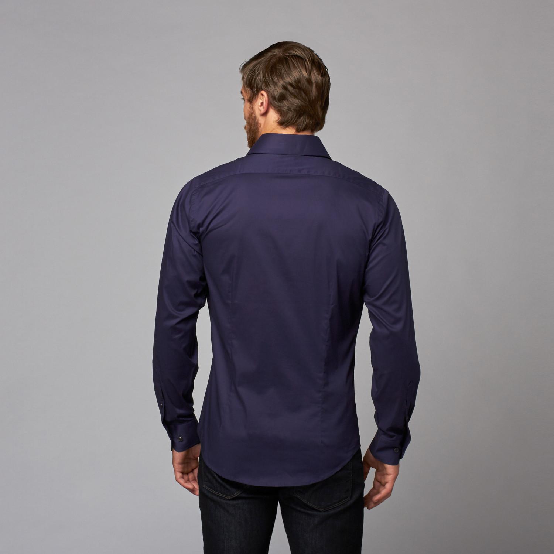 Slim Fit Button Up Shirt Navy S Karako Touch Of