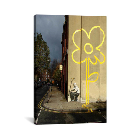 """Yellow Lines Flower Painter // Banksy (40""""W x 26""""H x 0.75""""D)"""