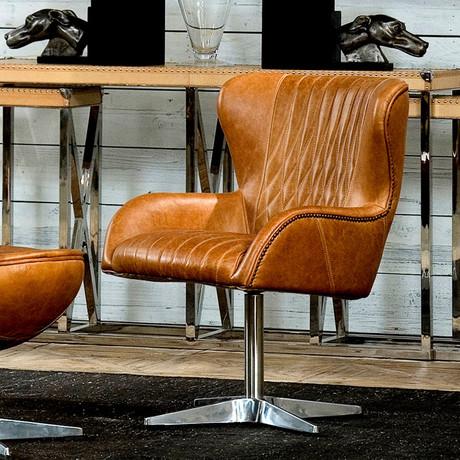 Disel Swivel Arm Chair // Brown