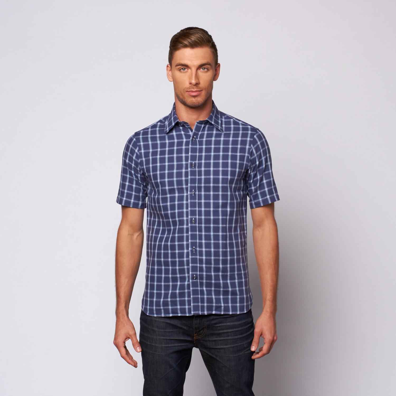 Light Plaid Button Up Shirt Navy S International
