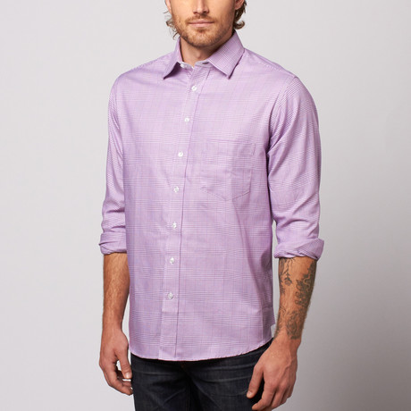MINE Apparel // Houndstooth Button Up // Purple (M)