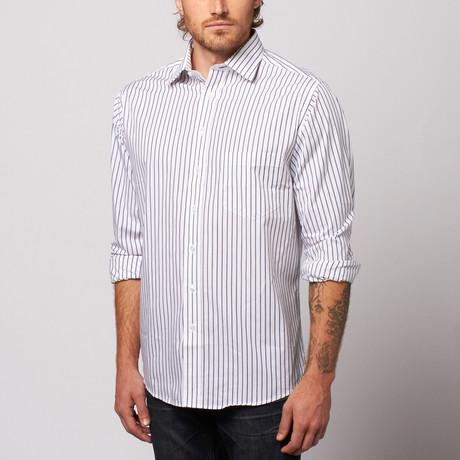 MINE Apparel // Striped Button Up // White + Navy (M)