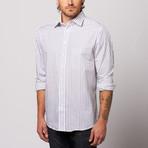 MINE Apparel // Striped Button Up // White + Navy (M)