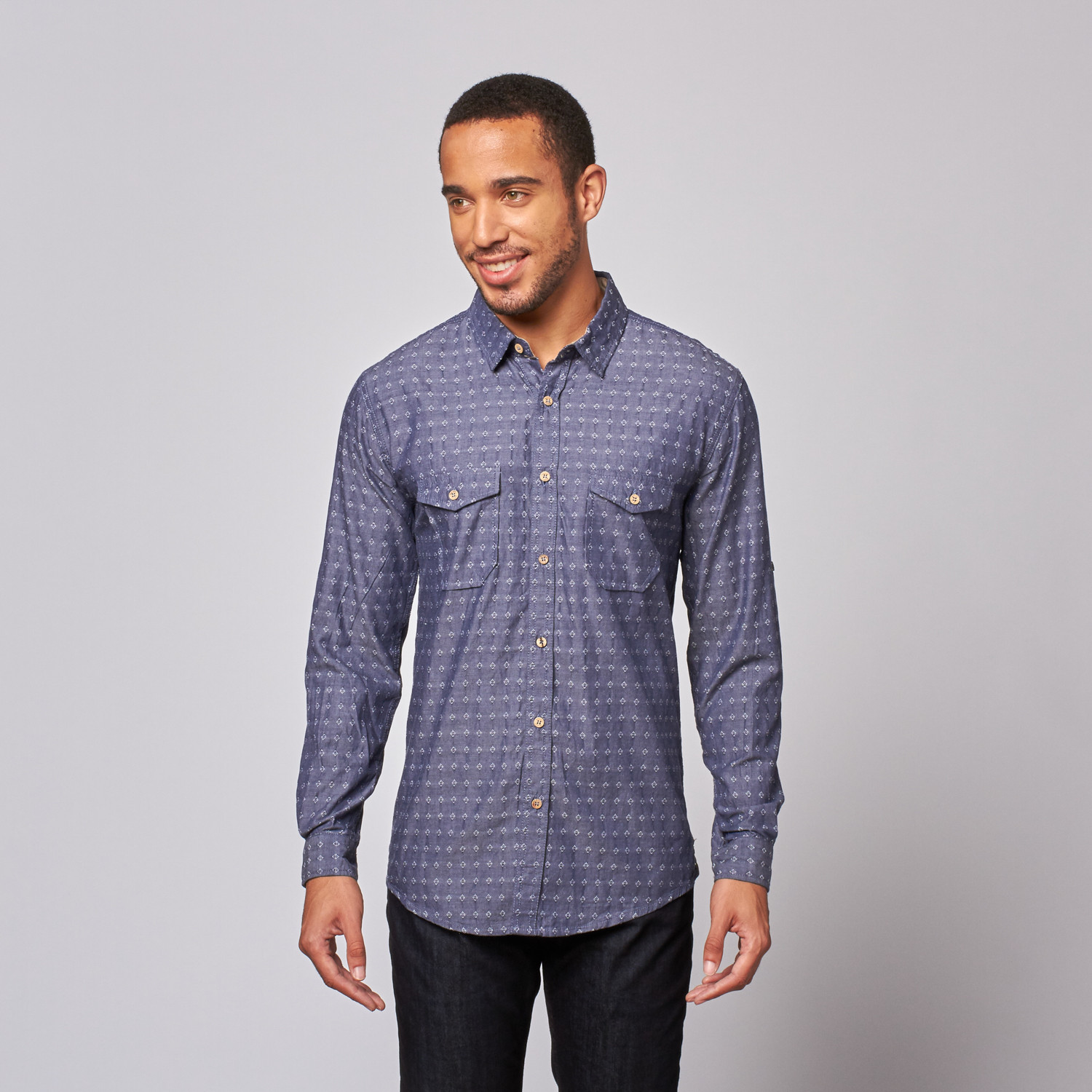 Jacquard Button Up Shirt Navy S Mojito Touch Of