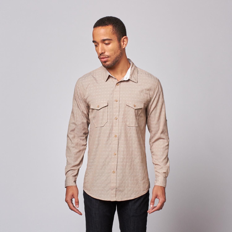 Jacquard Button Up Shirt Khaki S Mojito Touch Of