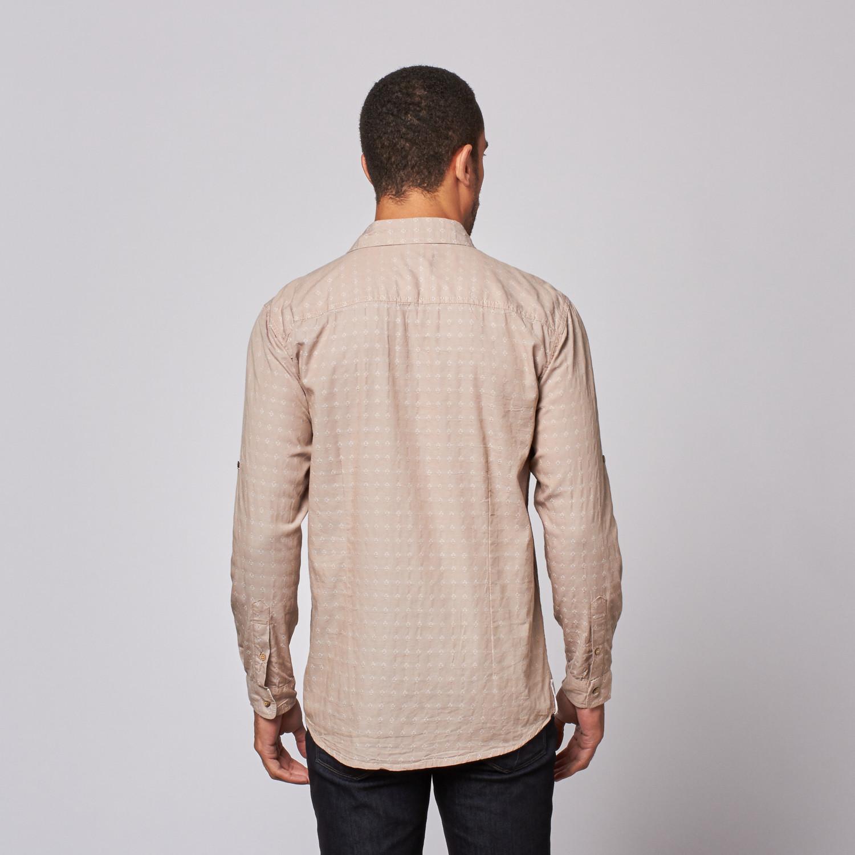 Jacquard Button Up Shirt Khaki S Mojito Collection