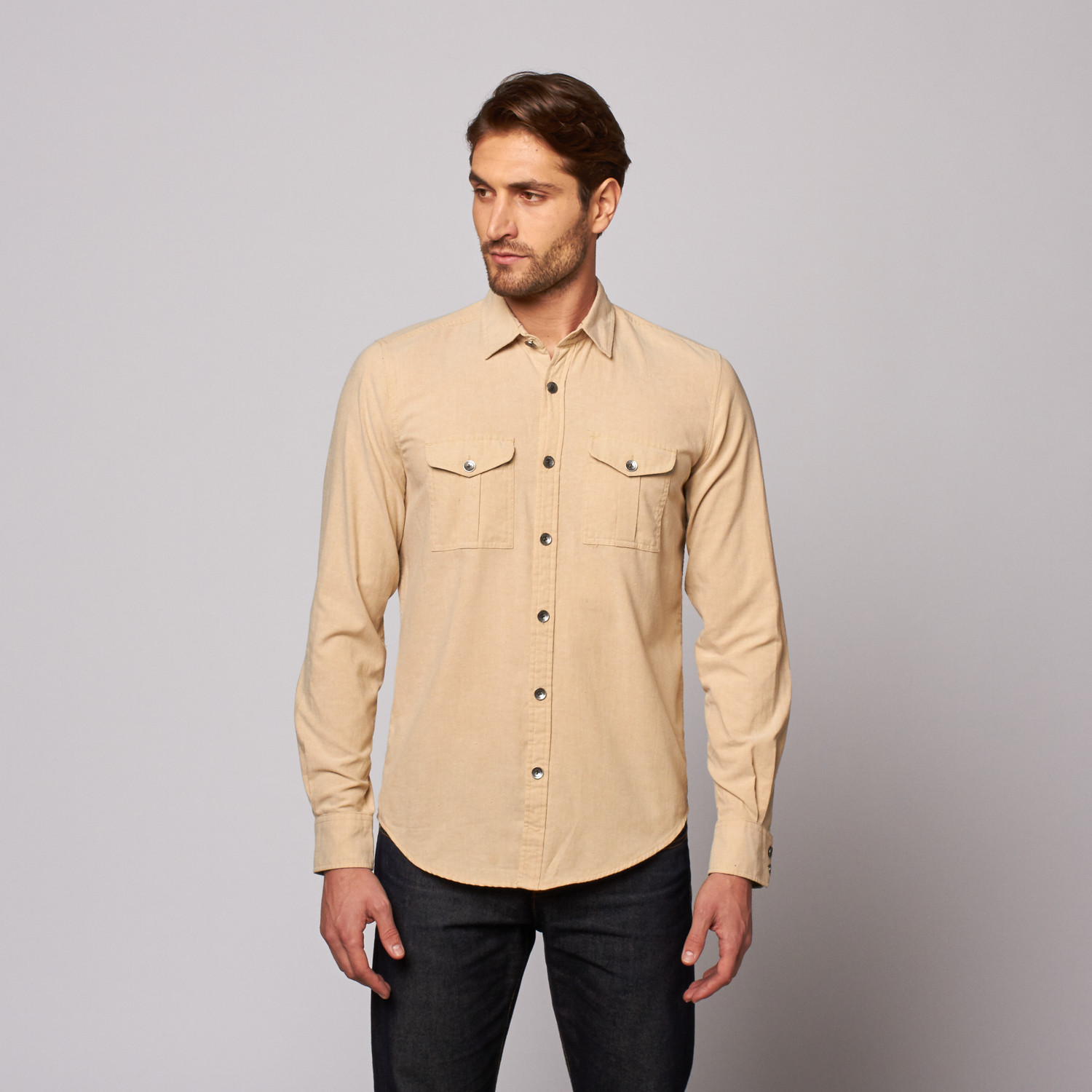 Cadet Button Up Shirt Khaki S Gilded Age Touch Of