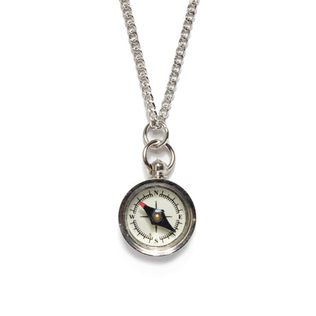Miniature Silver Compass Necklace