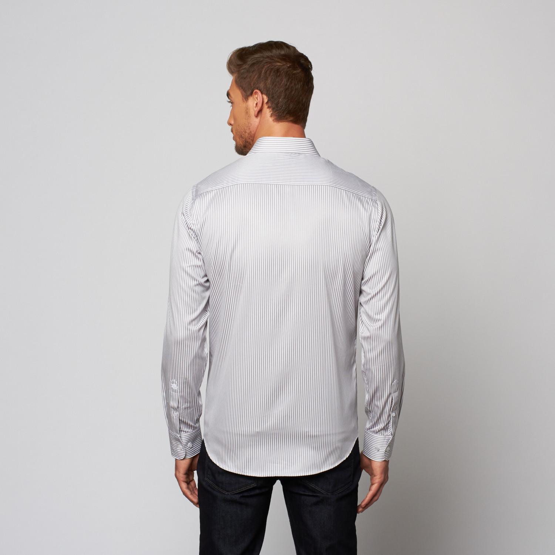 Striped Button Up Dress Shirt Grey White Xs Stone