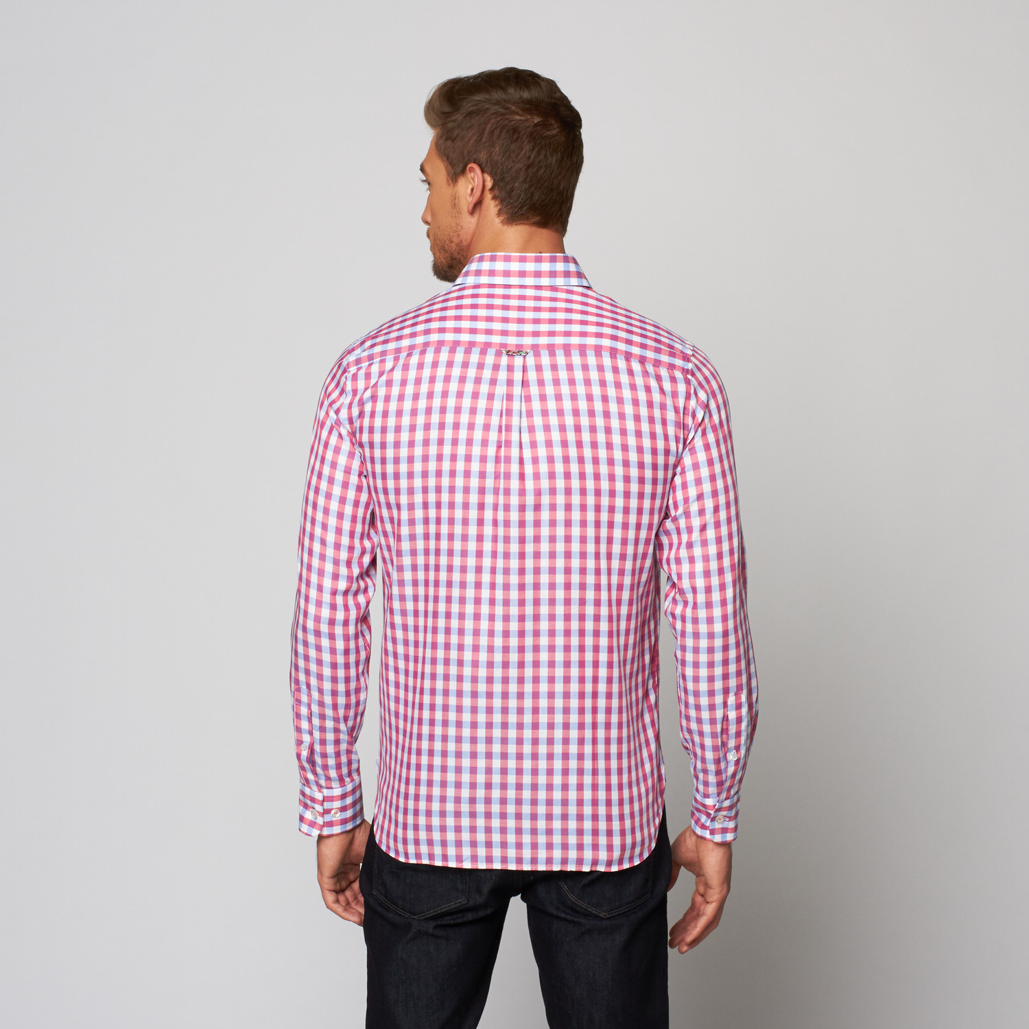 Check button up dress shirt pink blue xs stone for Blue check dress shirt