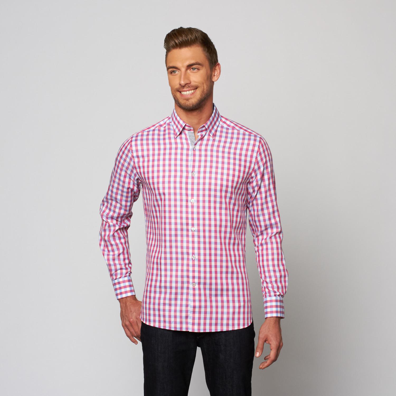Check button up dress shirt pink blue xs stone for Pink checkered dress shirt