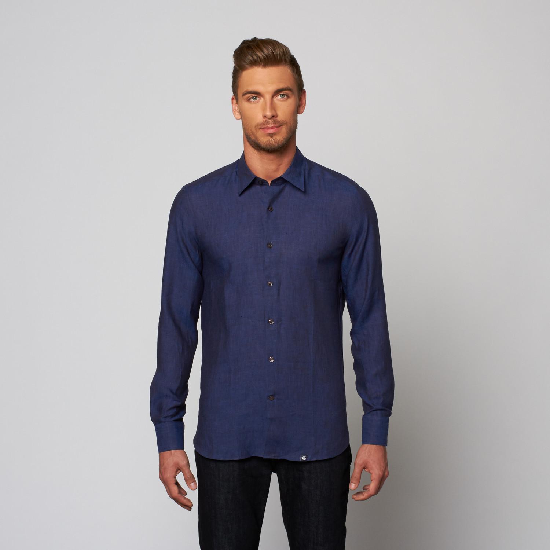 Linen Button Up Dress Shirt Navy Xs Stone Rose