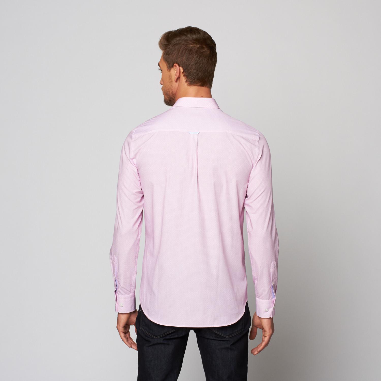Button Up Dress Shirt White Pink Xs Stone Rose
