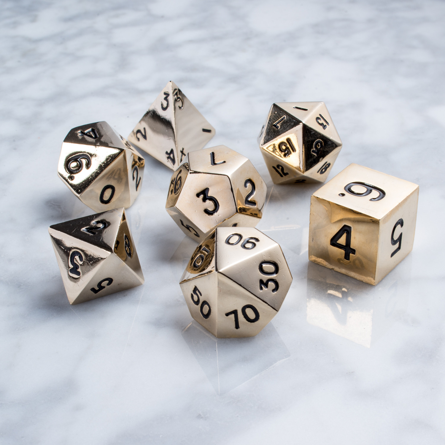 16mm Metal Polyhedral Dice Set // Gold - The BBQ Event ...