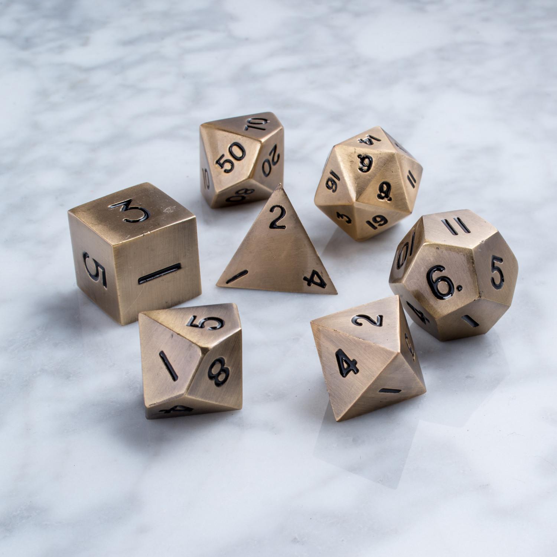 16mm Metal Polyhedral Dice Set // Antique Gold - Metallic ...