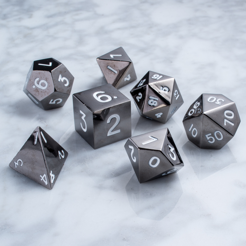 16mm Polyhedral Dice Set // Sterling Gray Metal - Metallic ...