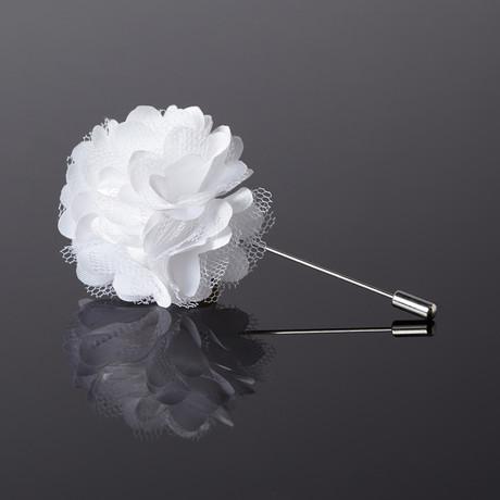 Carnation Floral Lapel Pin // Snow White