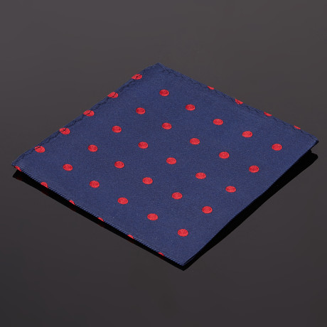 Traveler Pocket Square // Navy + Red