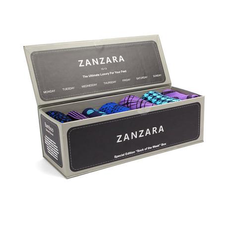 Sock Box // Black + Purple + Turquoise // Set of 7