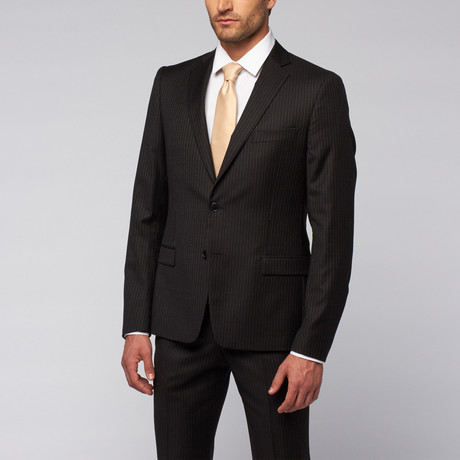 Versace Collection // Wool Two-Piece Suit // Black, Navy + White Bead Stripe (US: 48R)