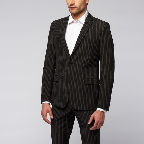 Versace Collection // Two-Piece Suit // Black + White Pinstripe (US: 44R)