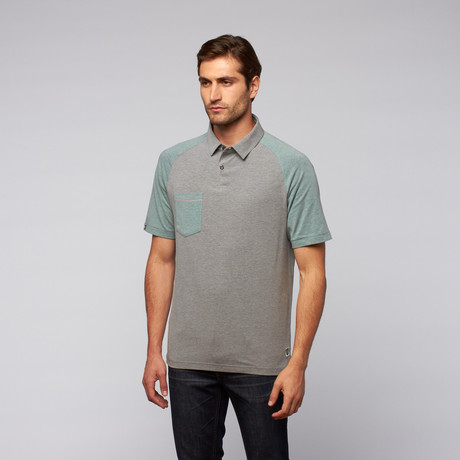 LinkSoul // Short-Sleeve Colorblock Knit Shirt // Heather Grey