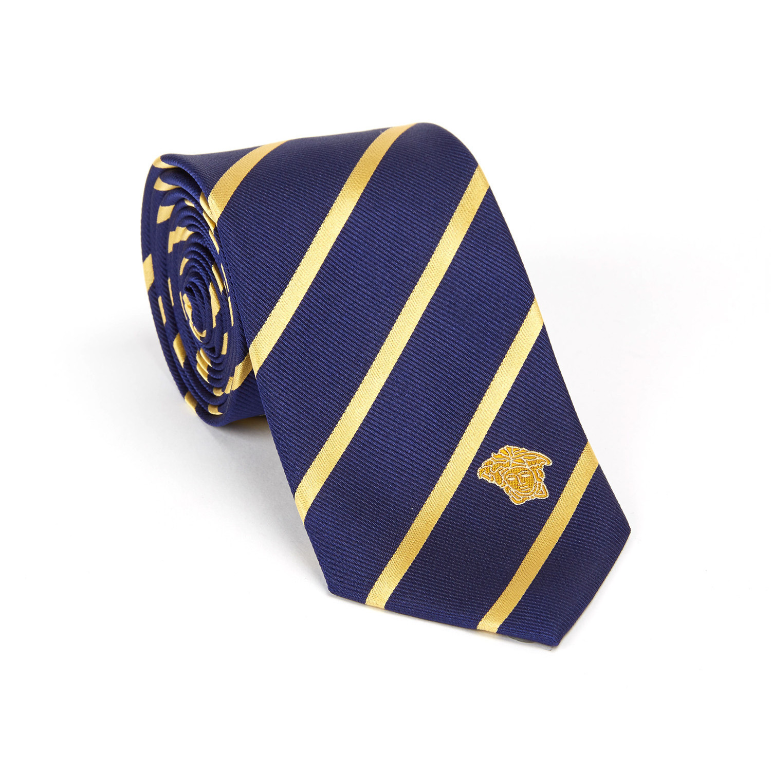 versace collection silk tie blue gold stripe the
