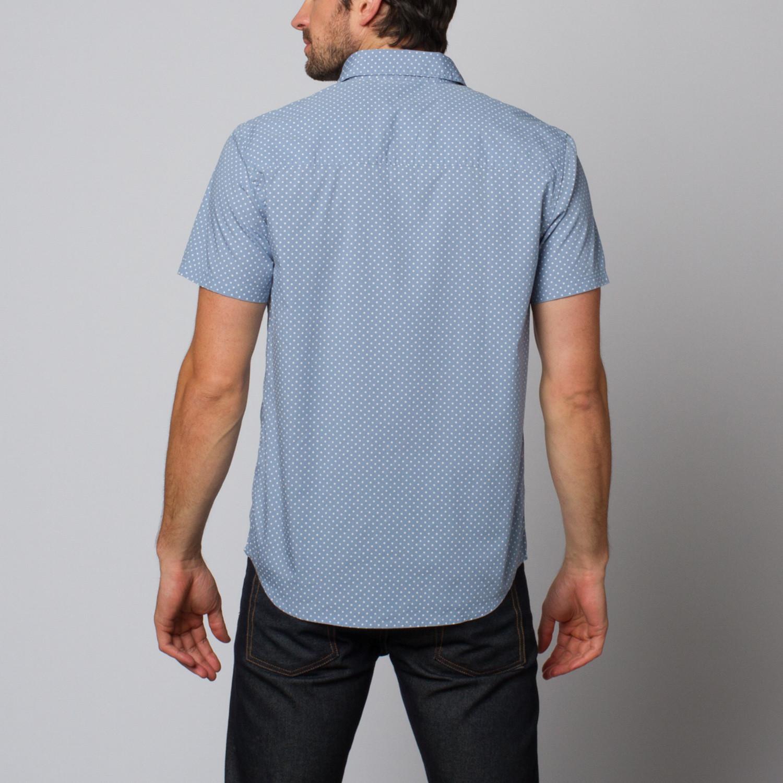 Slate And Stone Clothing : Slate stone kent star print shirt light blue l