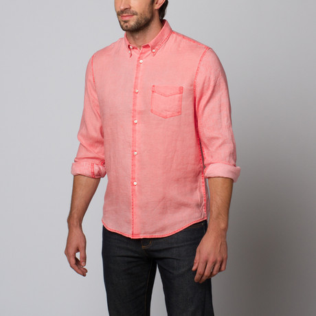 Slate & Stone // Charter Cotton Linen Shirt // Red