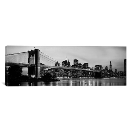 "Brooklyn Bridge across the East River at dusk, Manhattan, New York City, New York State, USA // Panoramic Images (36""W x 12""H x 0.75""D)"