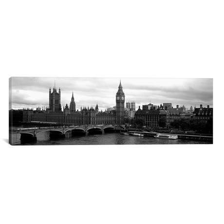 "Bridge across a river, Westminster Bridge, Big Ben, Houses of Parliament, City Of Westminster, London, England // Panoramic Images (60""W x 20""H x 0.75""D)"