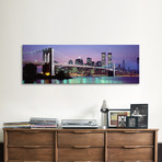 """An Illuminated Brooklyn Bridge With Lower Manhattan's Financial District Skyline In The Background, New York City, New York // Panoramic Images (36""""W x 12""""H x 0.75""""D)"""