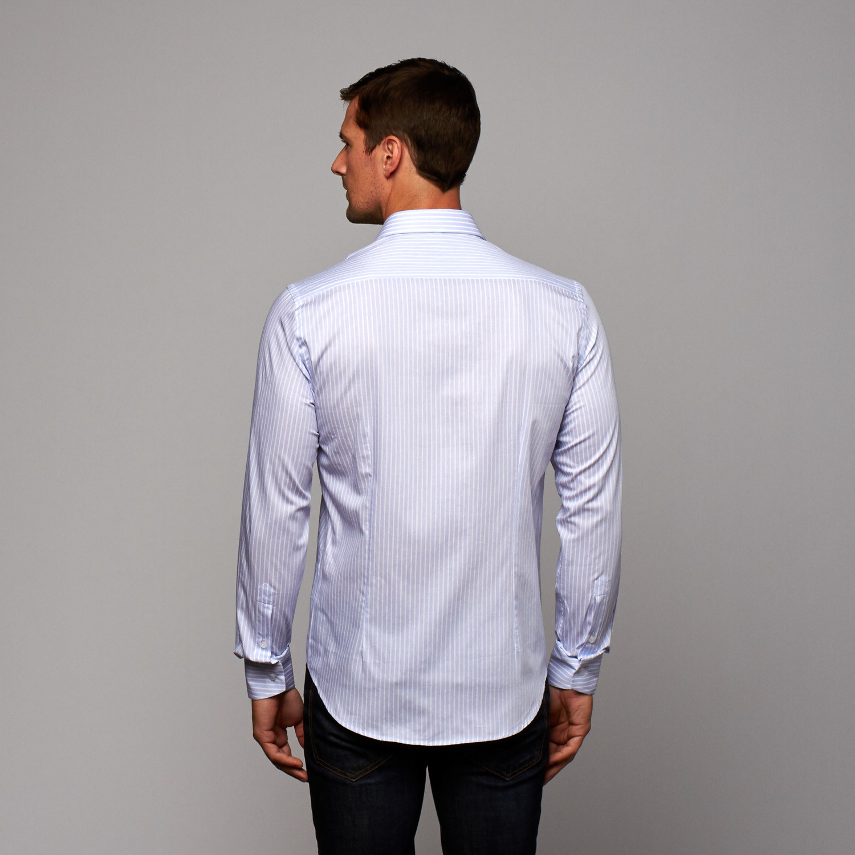 Button Up Shirt Light Blue White Stripe Us 16r