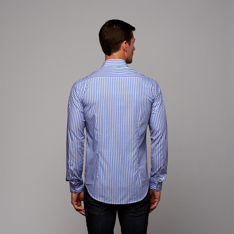 Button Up Shirt Blue White Stripe Us 16r