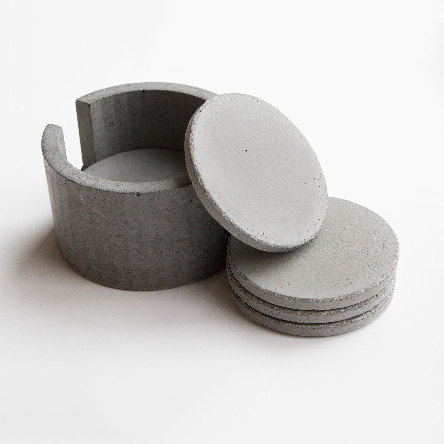 Aly velji x mtharu concrete coaster set white mtharu for How to make concrete coasters