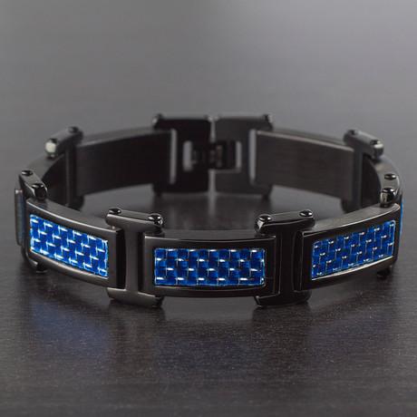 Carbon Fiber Link Bracelet // Blue + Black