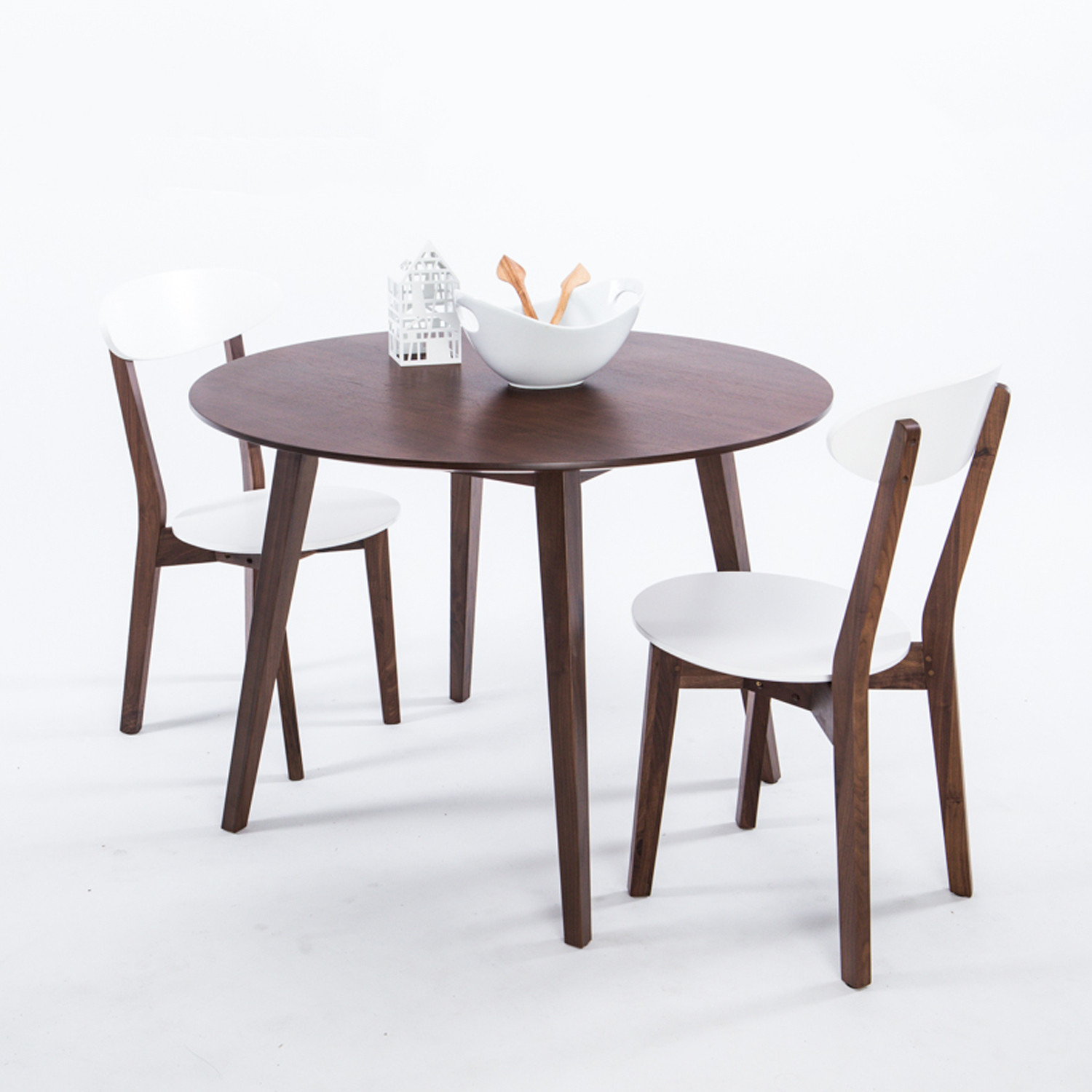 walnut round dining table furniture maison touch of modern. Black Bedroom Furniture Sets. Home Design Ideas
