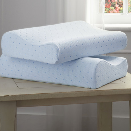 Arctic Sleep Cool-Blue Memory Foam Pillow // Contour // Single Pillow