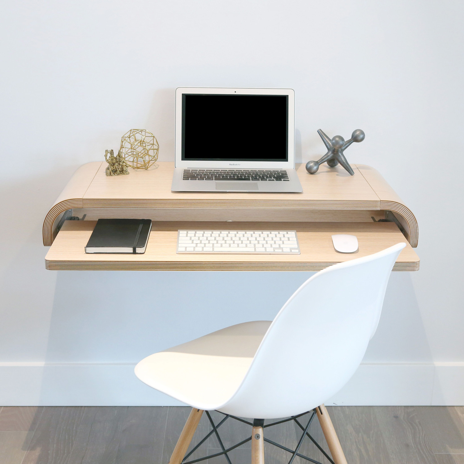 Minimal Float Wall Desk Rift Oak Hostgarcia