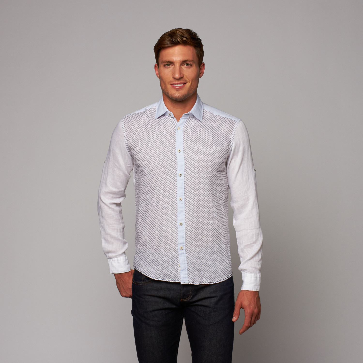 Button Up Shirt White Navy S Ron Tomson Touch