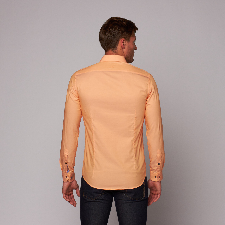 Cotton Button Up Shirt Orange Xs Ron Tomson Touch