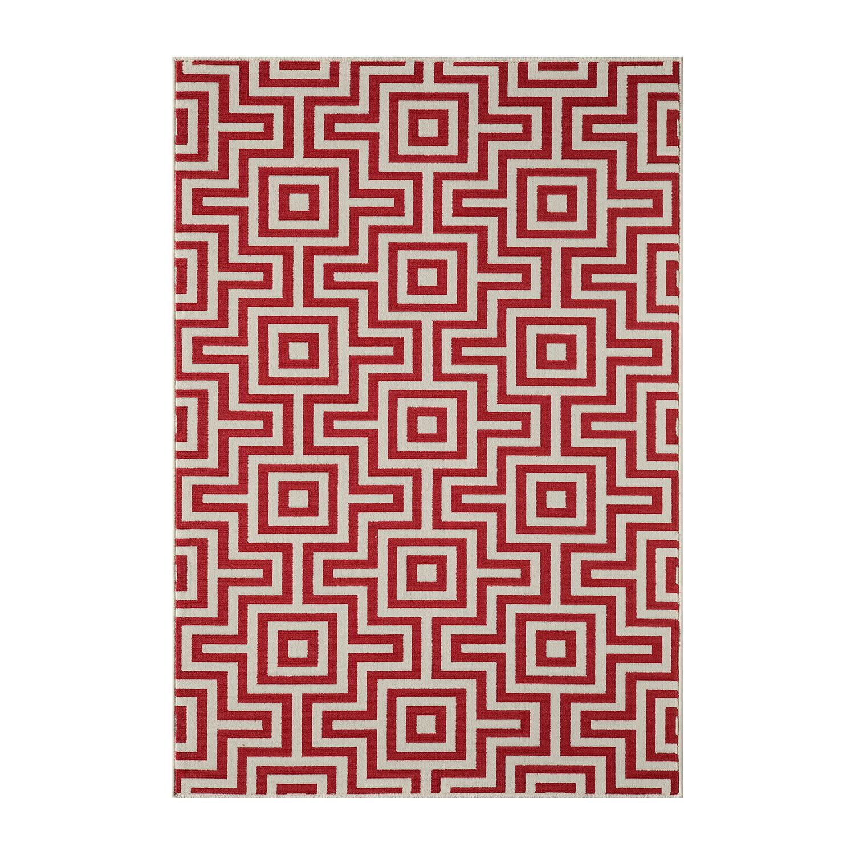 Maze Indoor Outdoor Rug Red 2 3 L X
