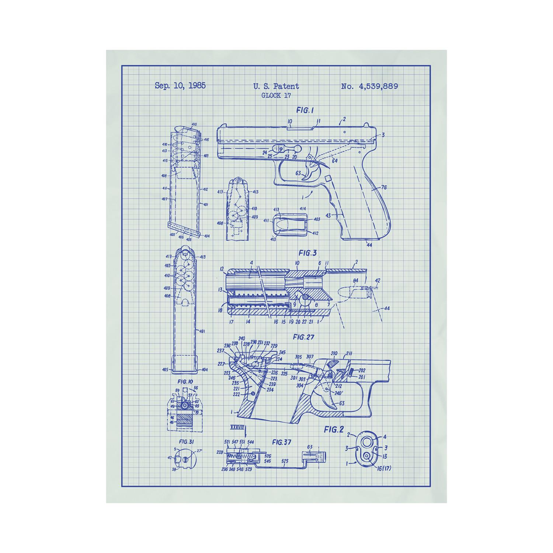 Glock 17 Handgun (White Grid // Blue Ink) - Inked & Screened
