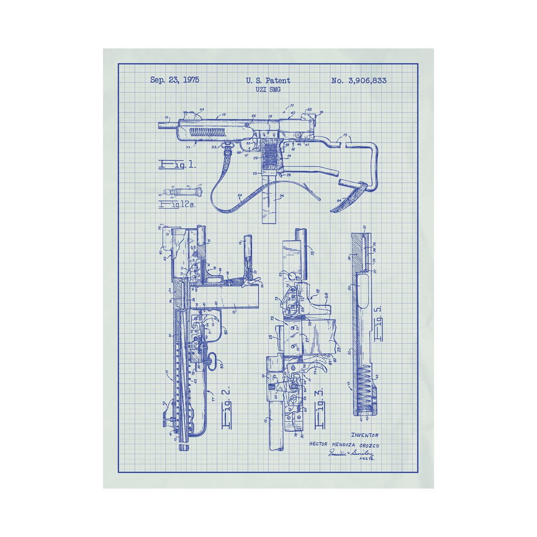 uzi smg (blue grid // white ink)