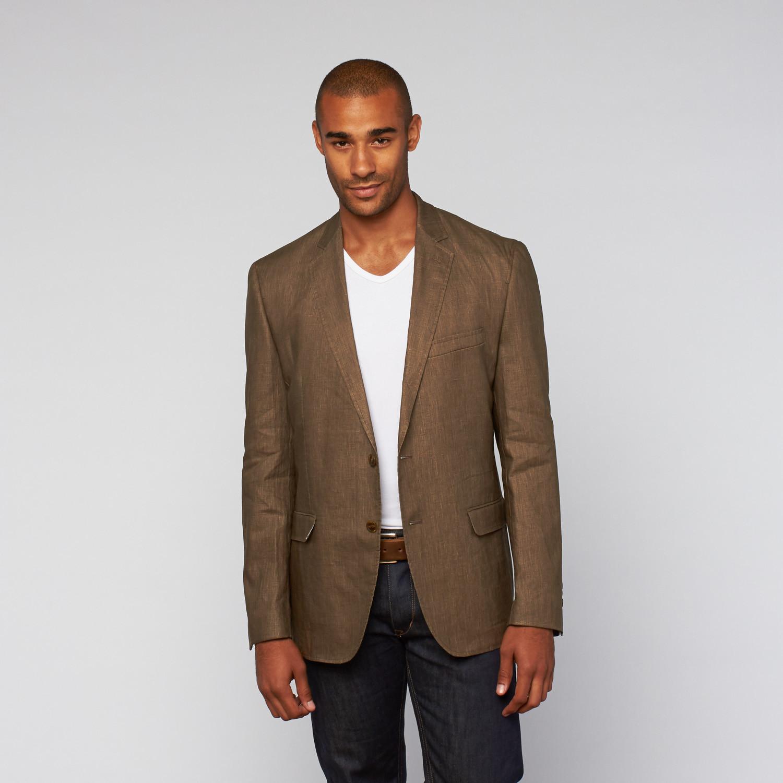 Daniel Hechter // Casual Washed Linen Jacket // Brown (US ...